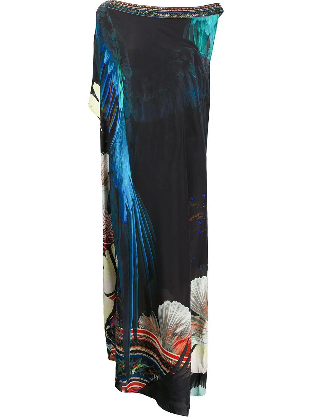 One Shoulder Kaftan With Neckband