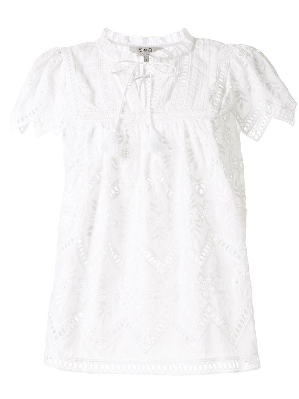 Zippy Eyelet Short Sleeve Top