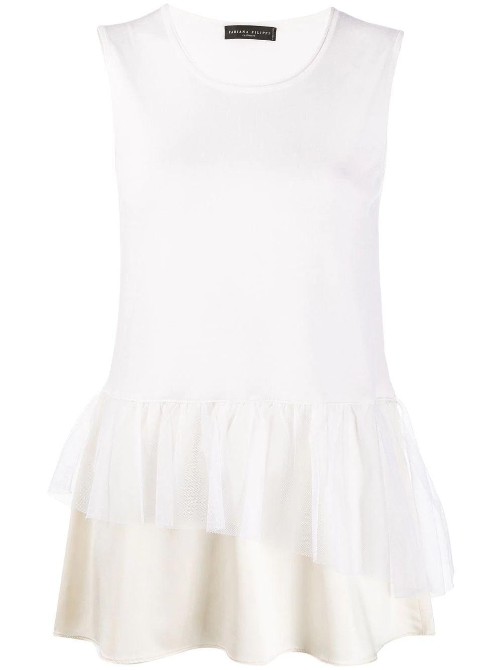 Sleeveless Cashmere Silk Top With Satin Item # MAD260B939