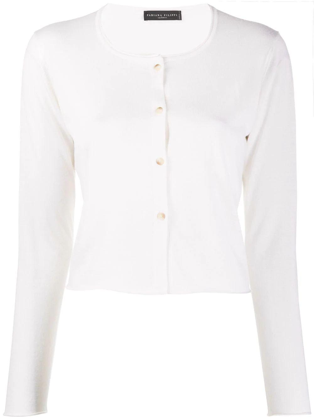 Cropped Cashmere Silk Cardigan