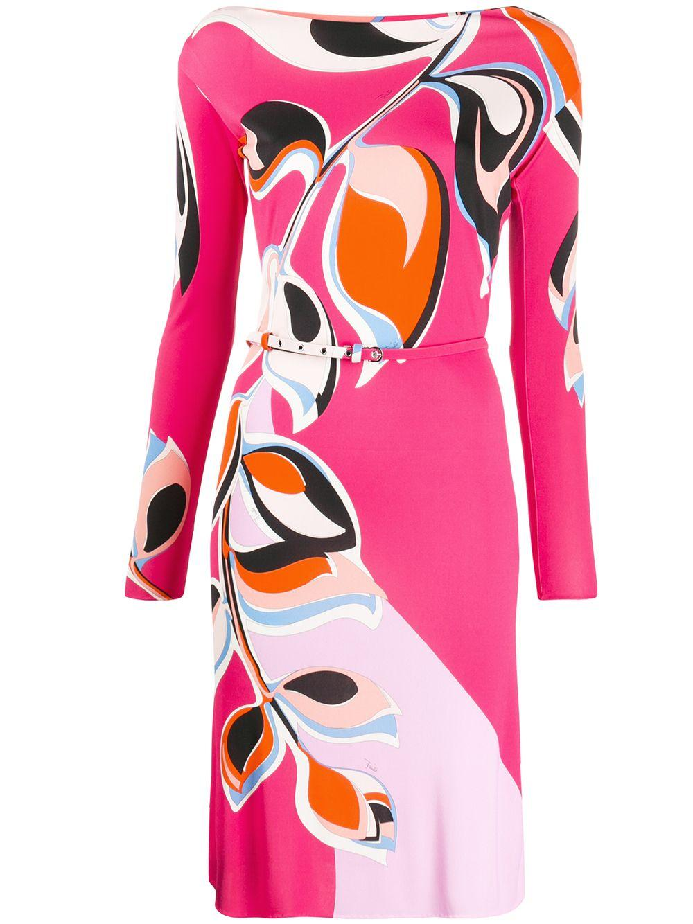 Long Sleeve Printed Dress With Belt