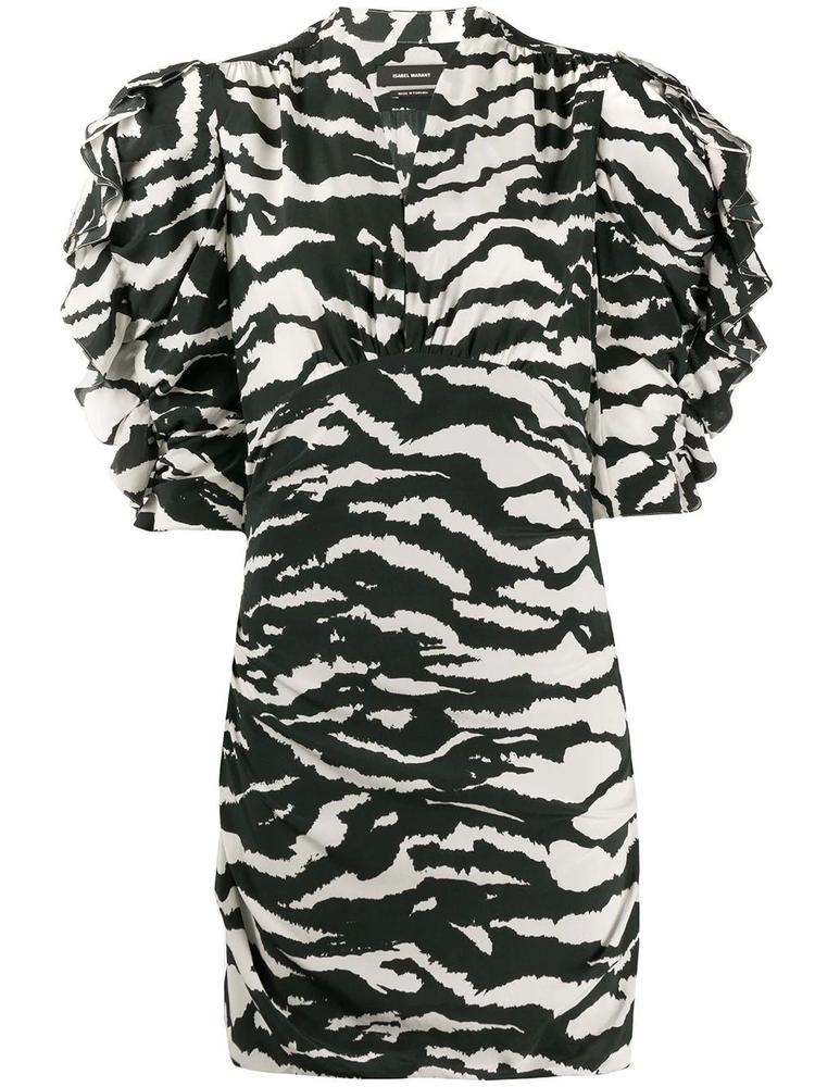 Puff Sleeve V Neck Zebra Dress