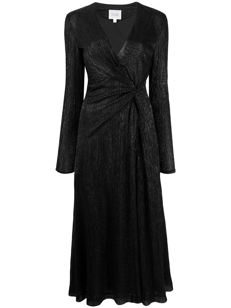 Plisse V Neck Midi Wrap Dress Item # 1809
