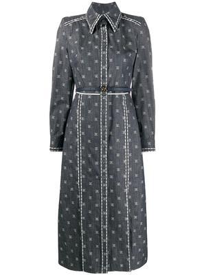Karligraphy Long Sleeve Shirt Dress With Collar