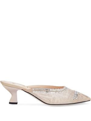 Cap Toe 55mm Mule With Crystals