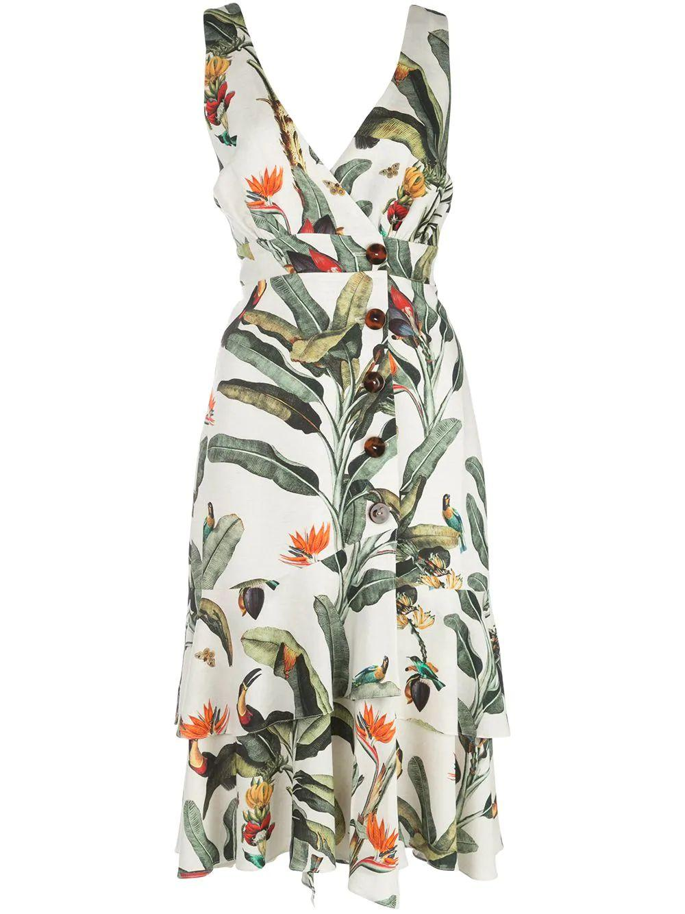 Tropical Print Button Front Midi