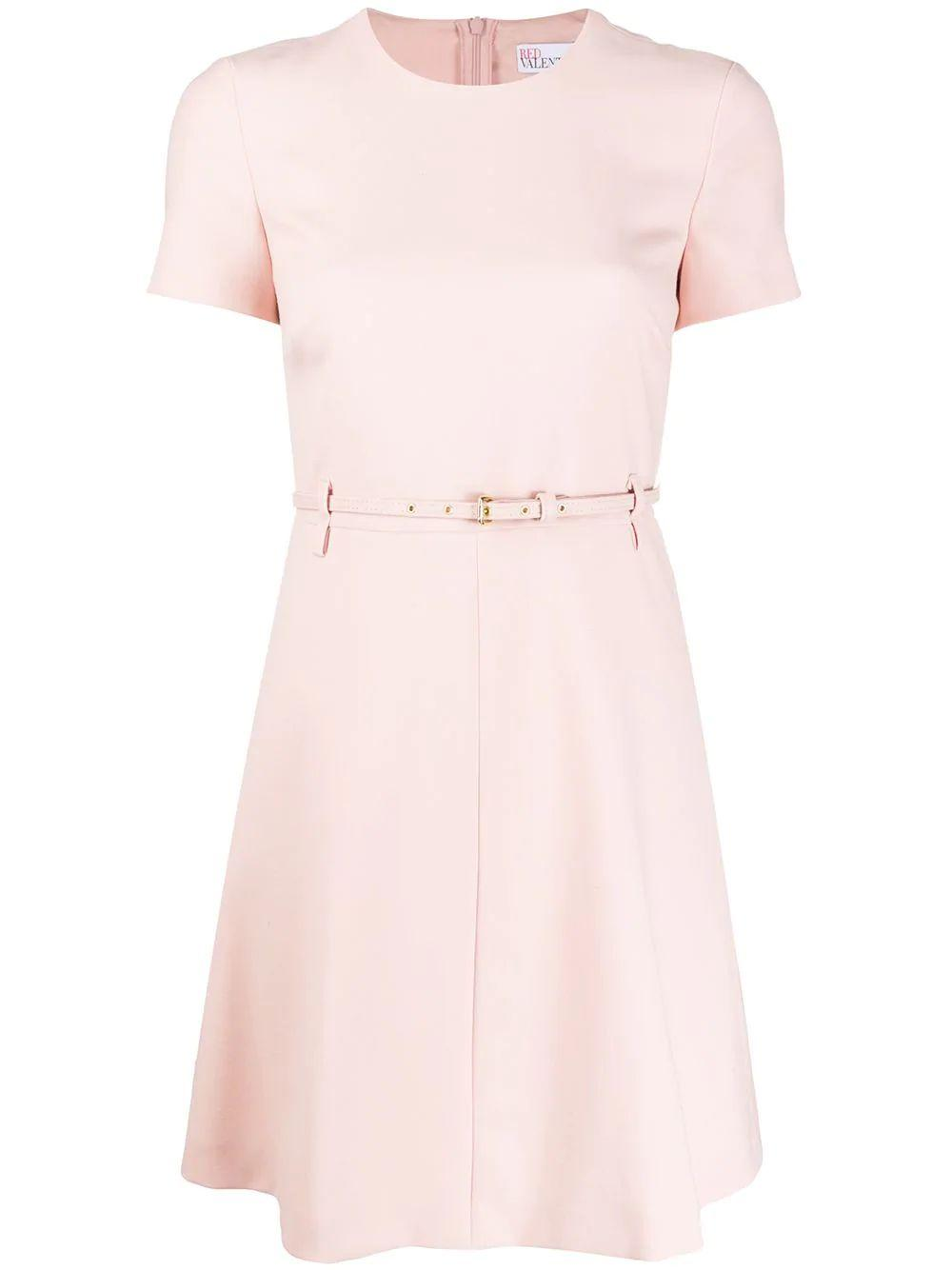 Short Sleeve Cady Dress With Belt