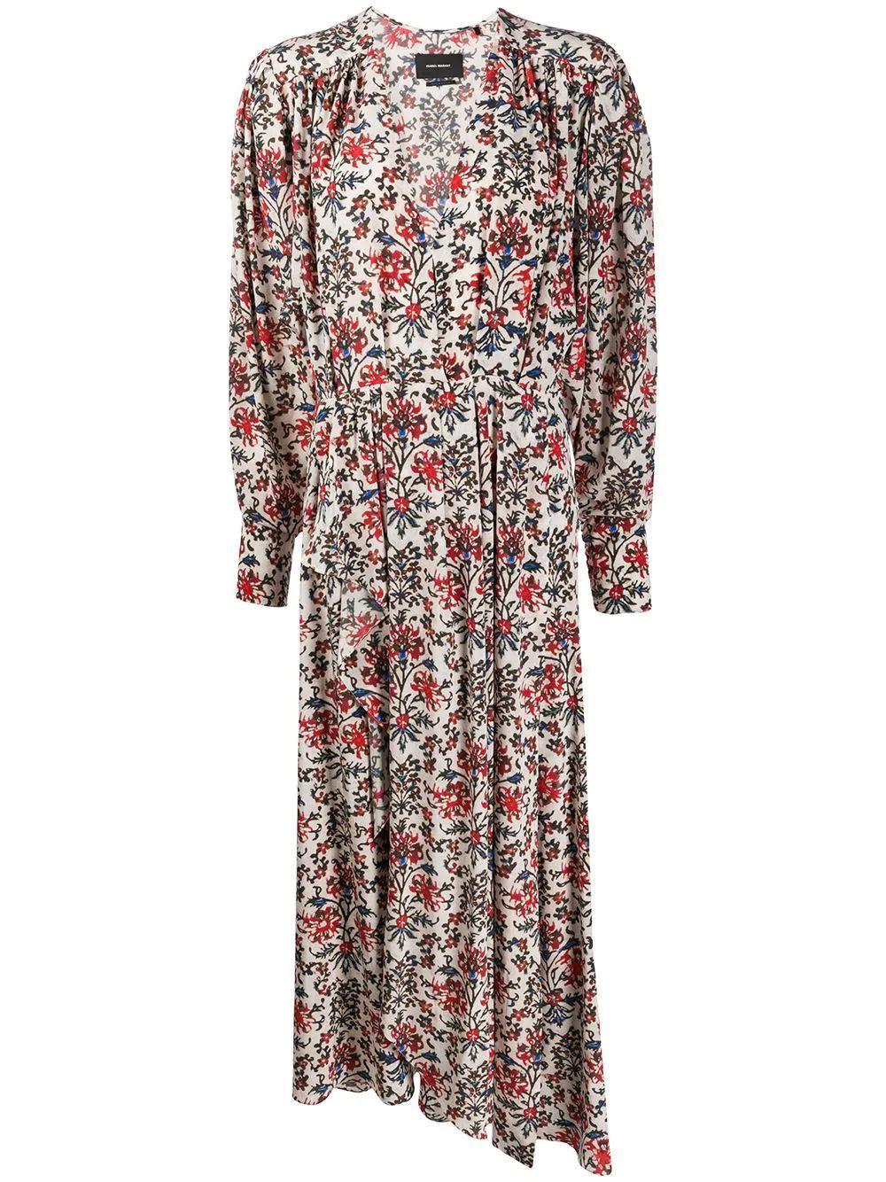 Long Sleeve V Neck Floral Printed Dress Item # BLAINE-R20