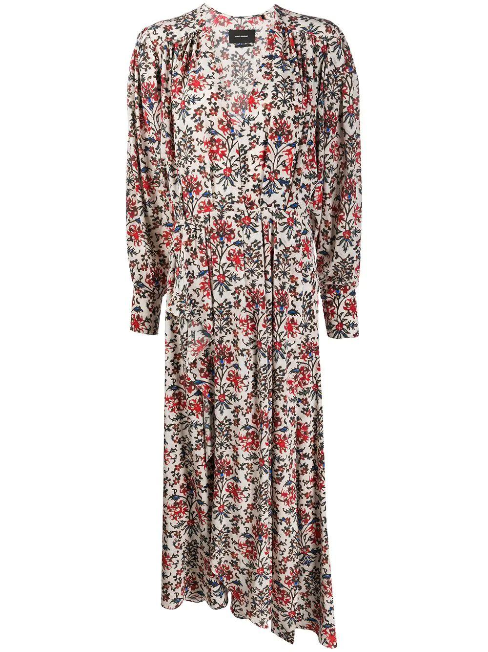 Long Sleeve V Neck Floral Printed Dress