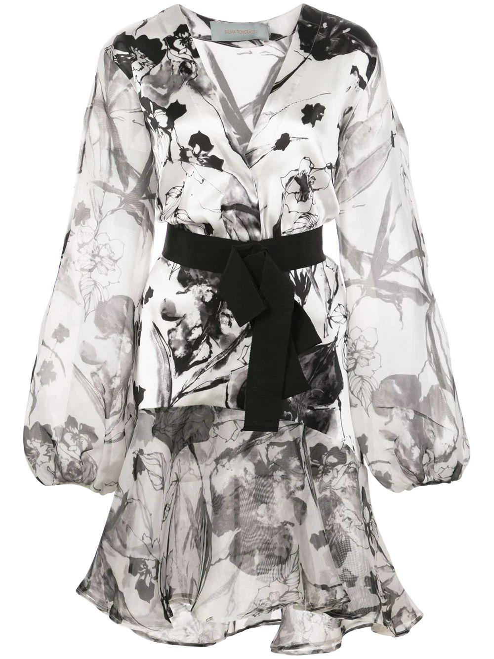 Long Sleeve Floral Printed Dress With Belt Item # GALENA-DRESS