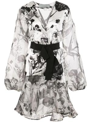 Long Sleeve Floral Printed Dress With Belt