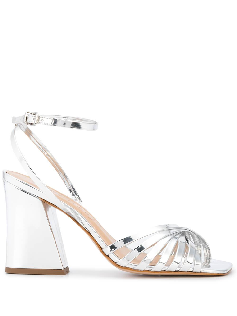 Metallic Strappy Block Heel Sandal