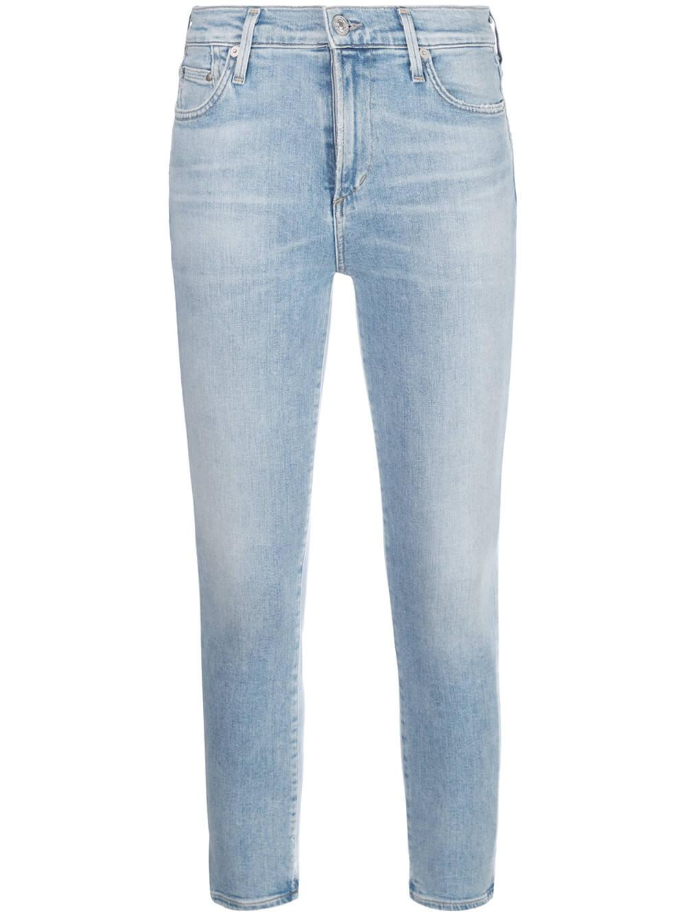 Rocket Crop Light Wash Mid Rise Skinny