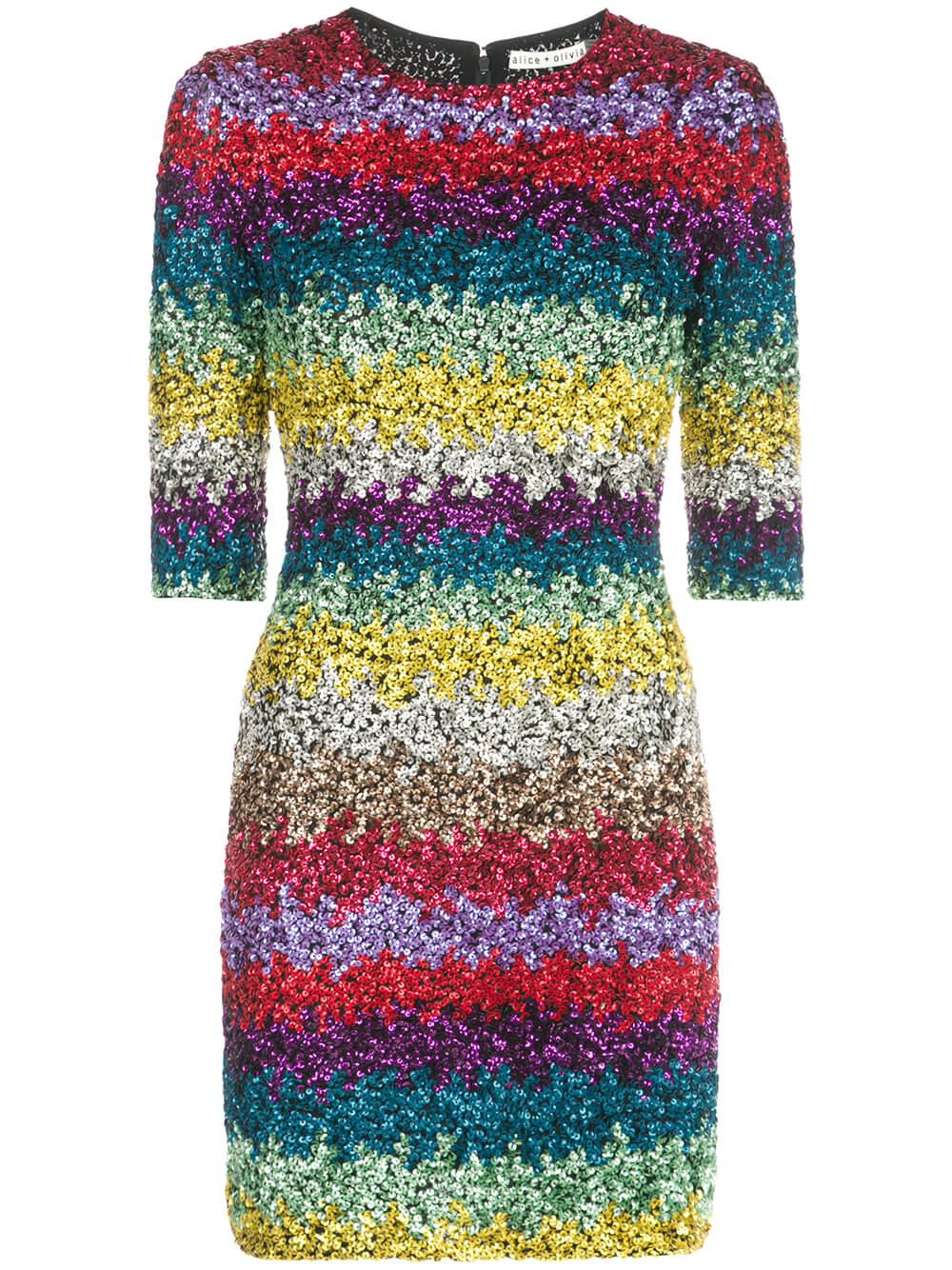 Inka Sequin Rainbow Fitted Dress Item # CC911E01522