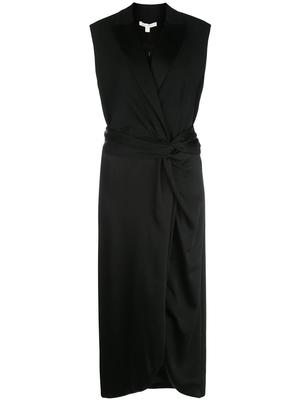 Sleeveless Luxe Wool Satin Combo Twist Dress