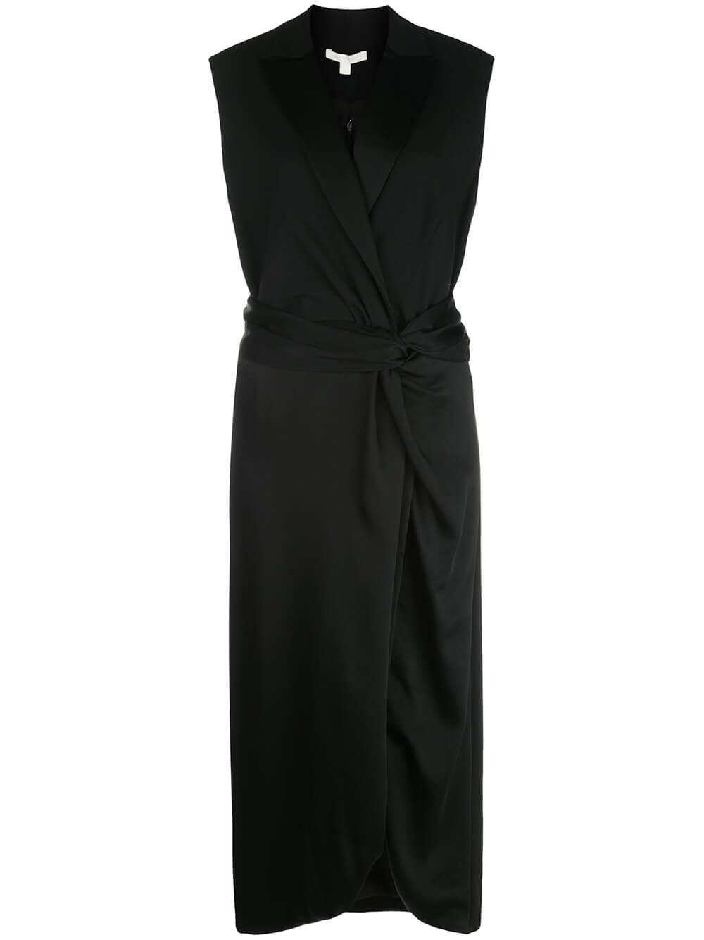 Sleeveless Luxe Wool Satin Combo Twist Dress