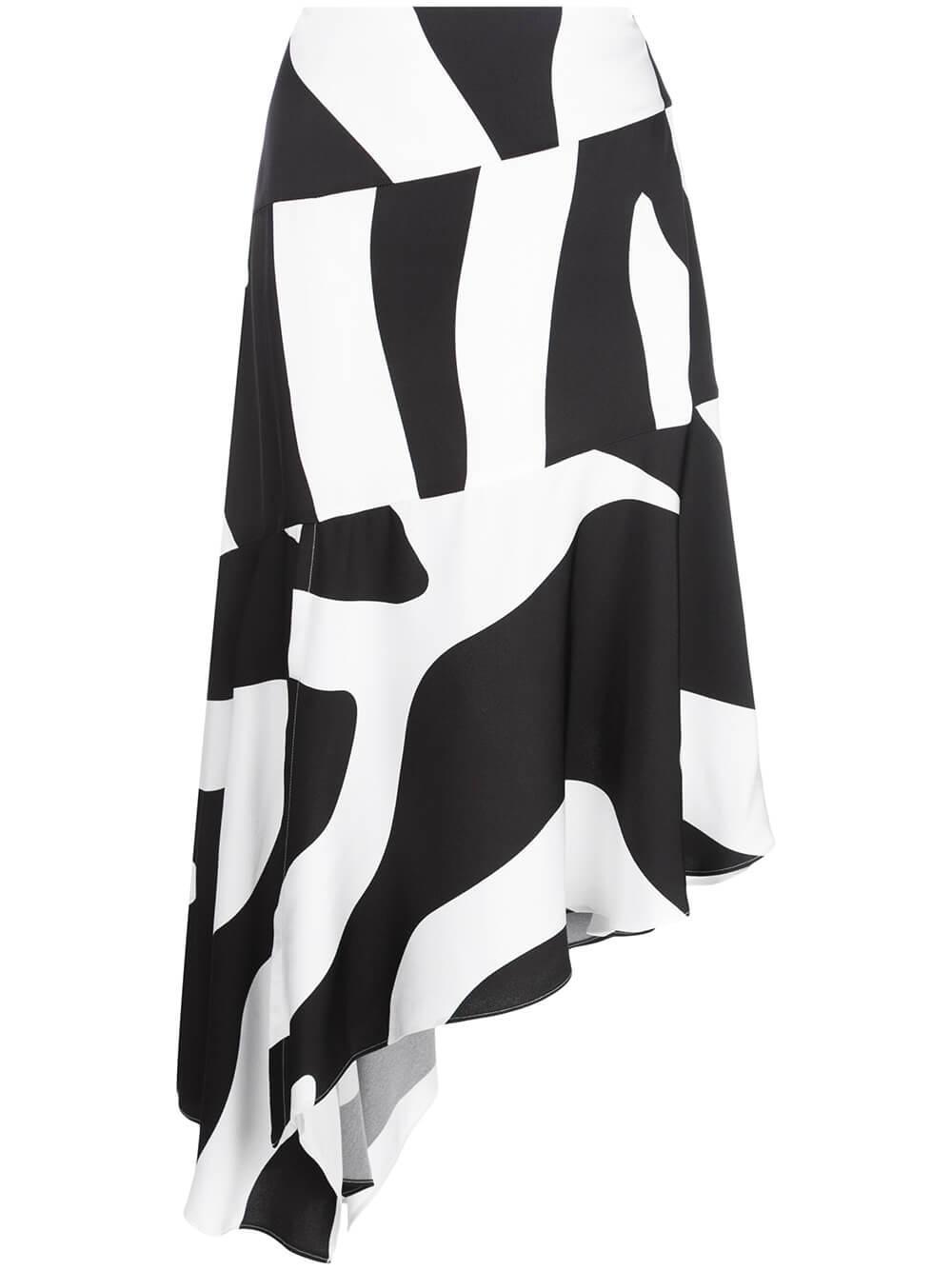 Casecade Zebra Print Midi Skirt