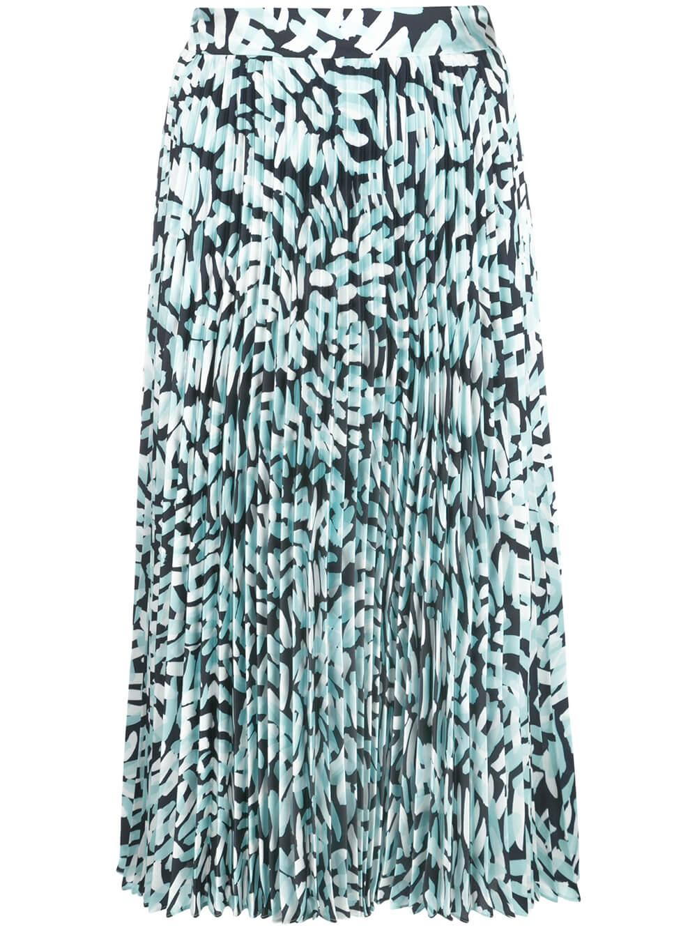 Brushstroke Print Pleated Midi Skirt