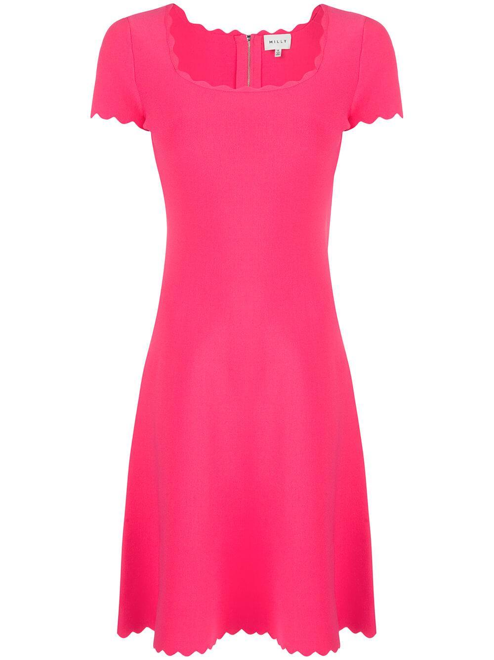 Scallop Square Neck Dress