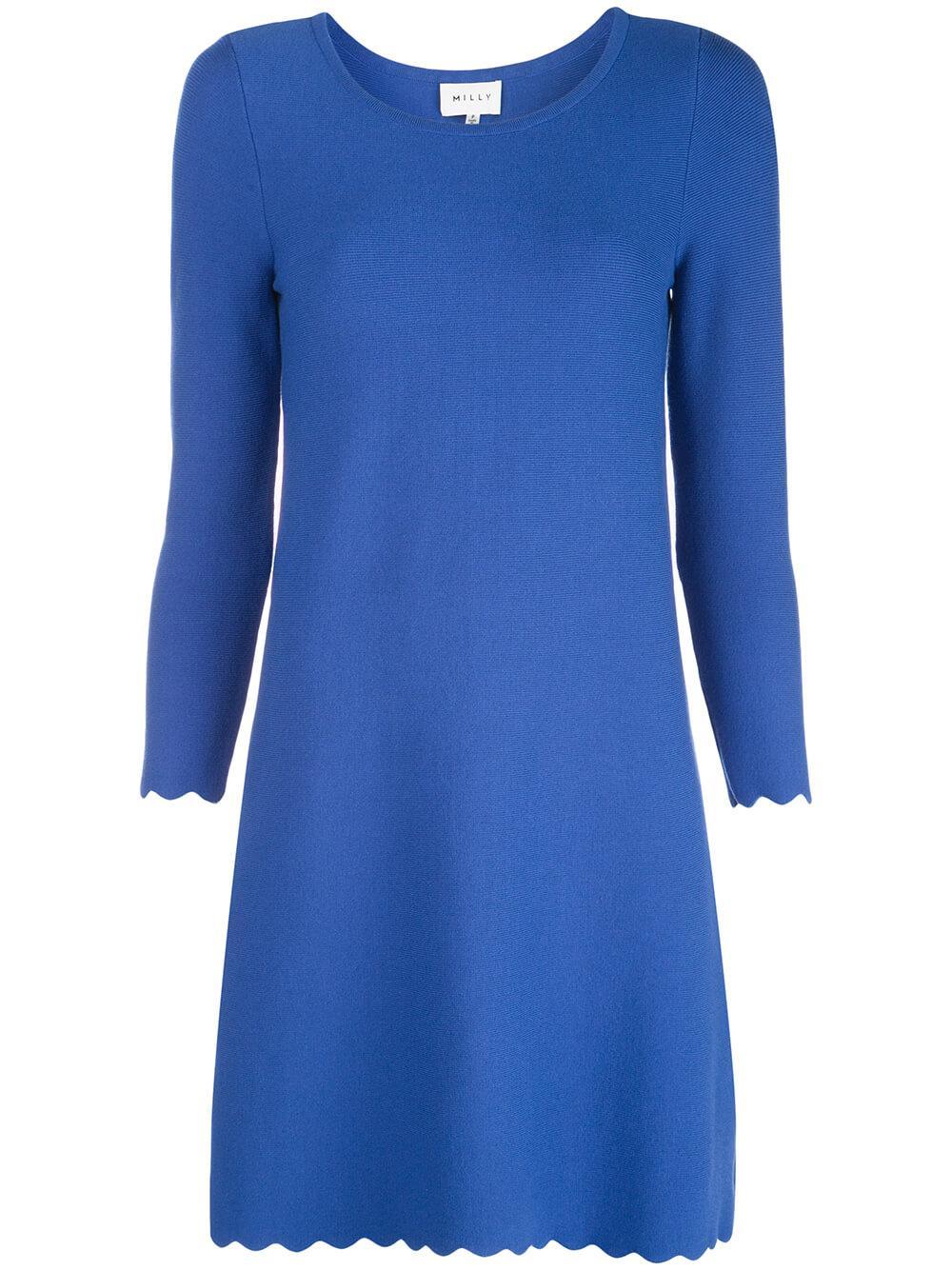 Scallop A Line 3/4 Sleeve Dress