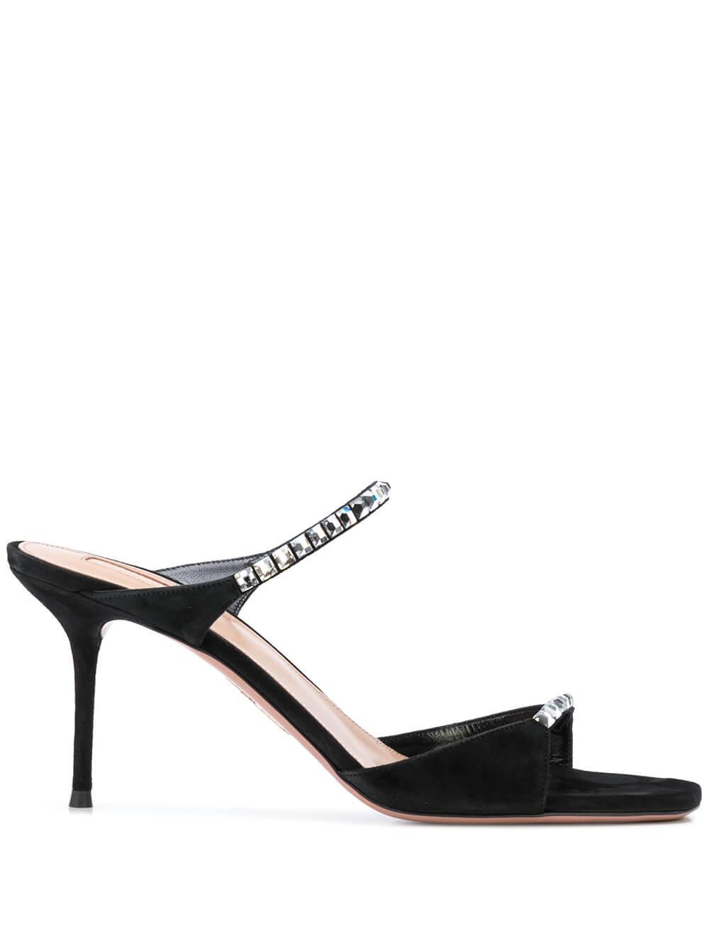 Diamante 75mm 2- Strap Suede Sandal Item # DMTMIDS0-SUE