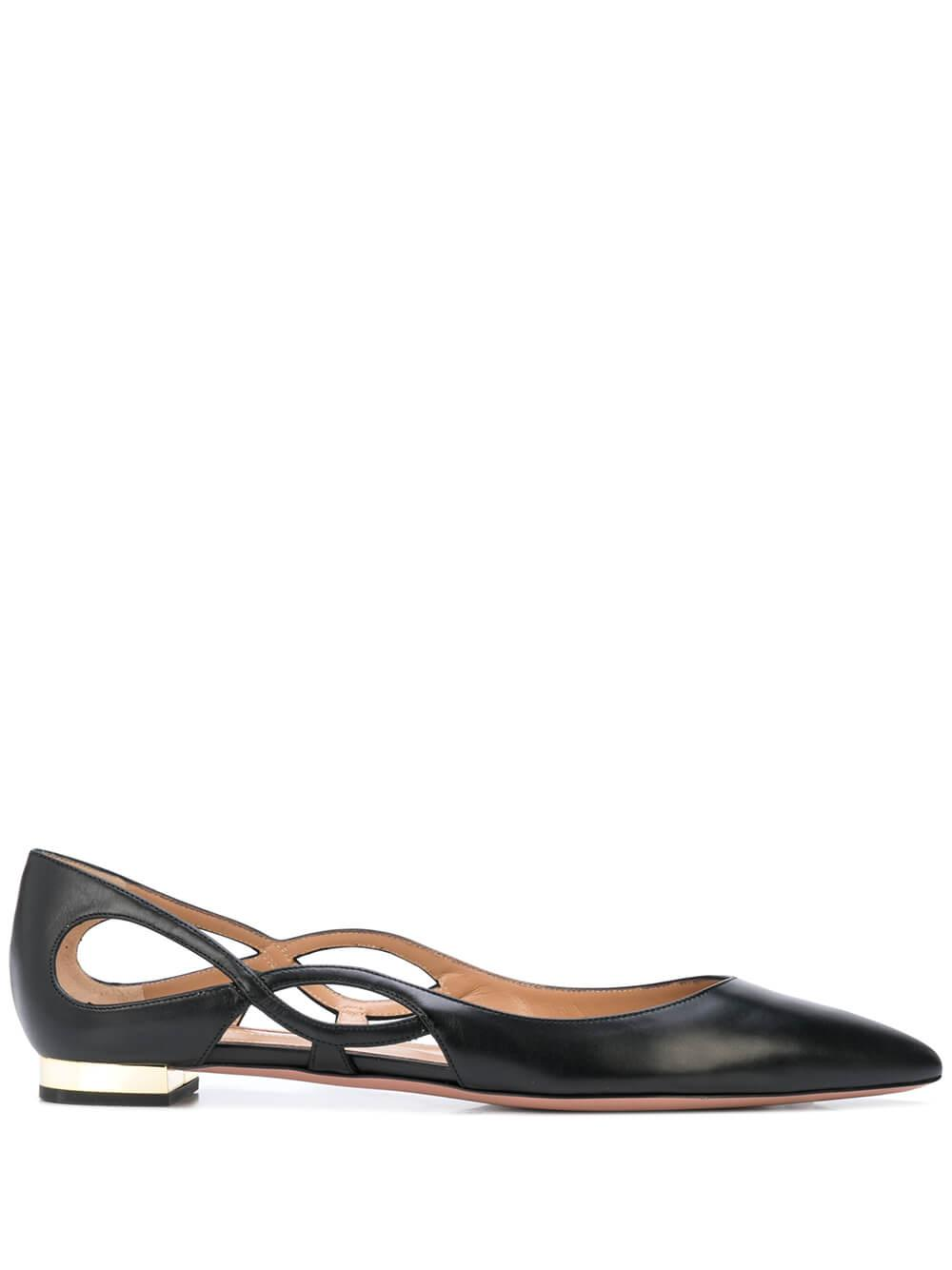 Forever Leather Ballet Flat With Cutouts Item # FOVFLAB0-CAL