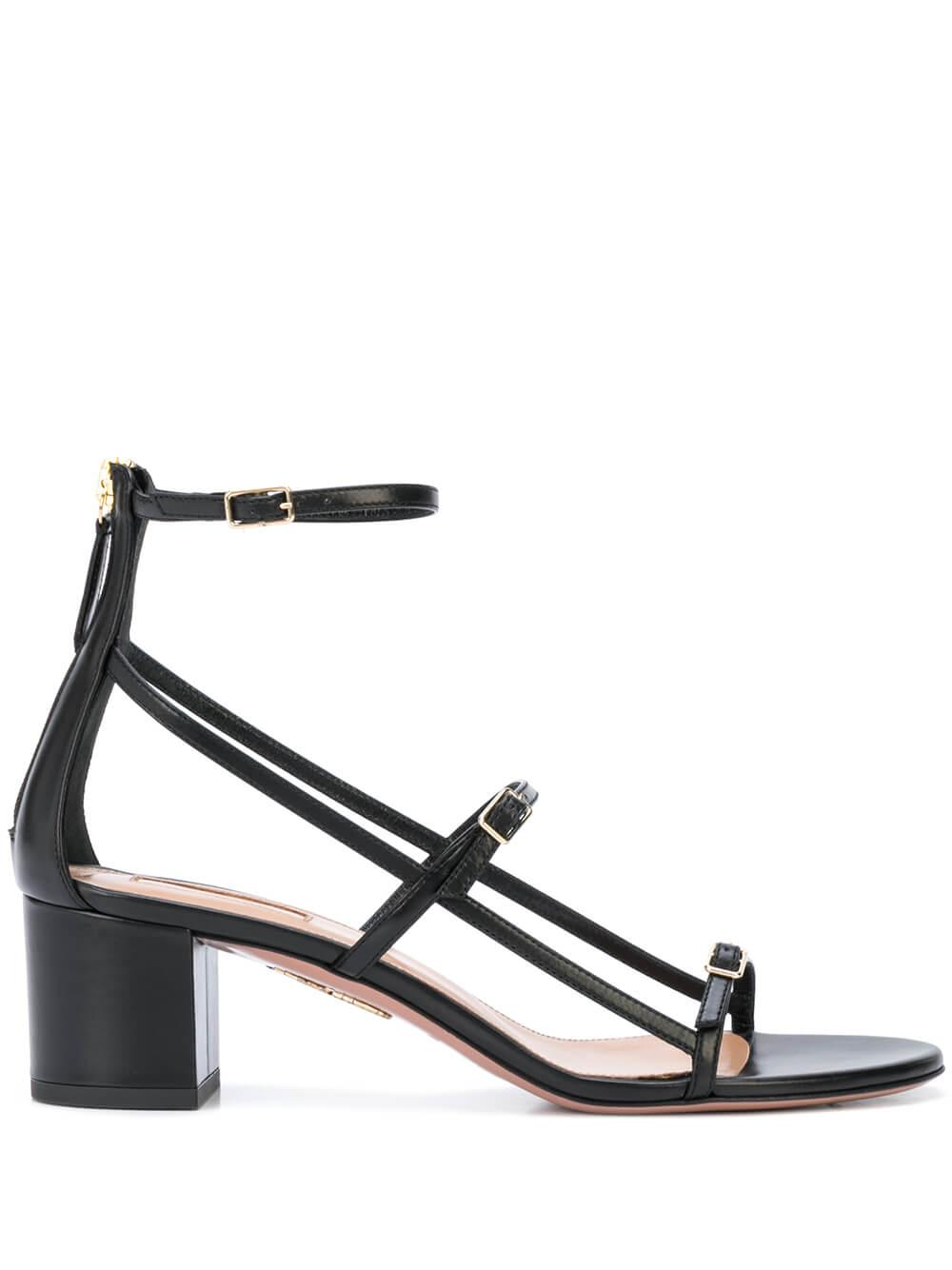 Super Model 50MM Block Heel Leather Sandal