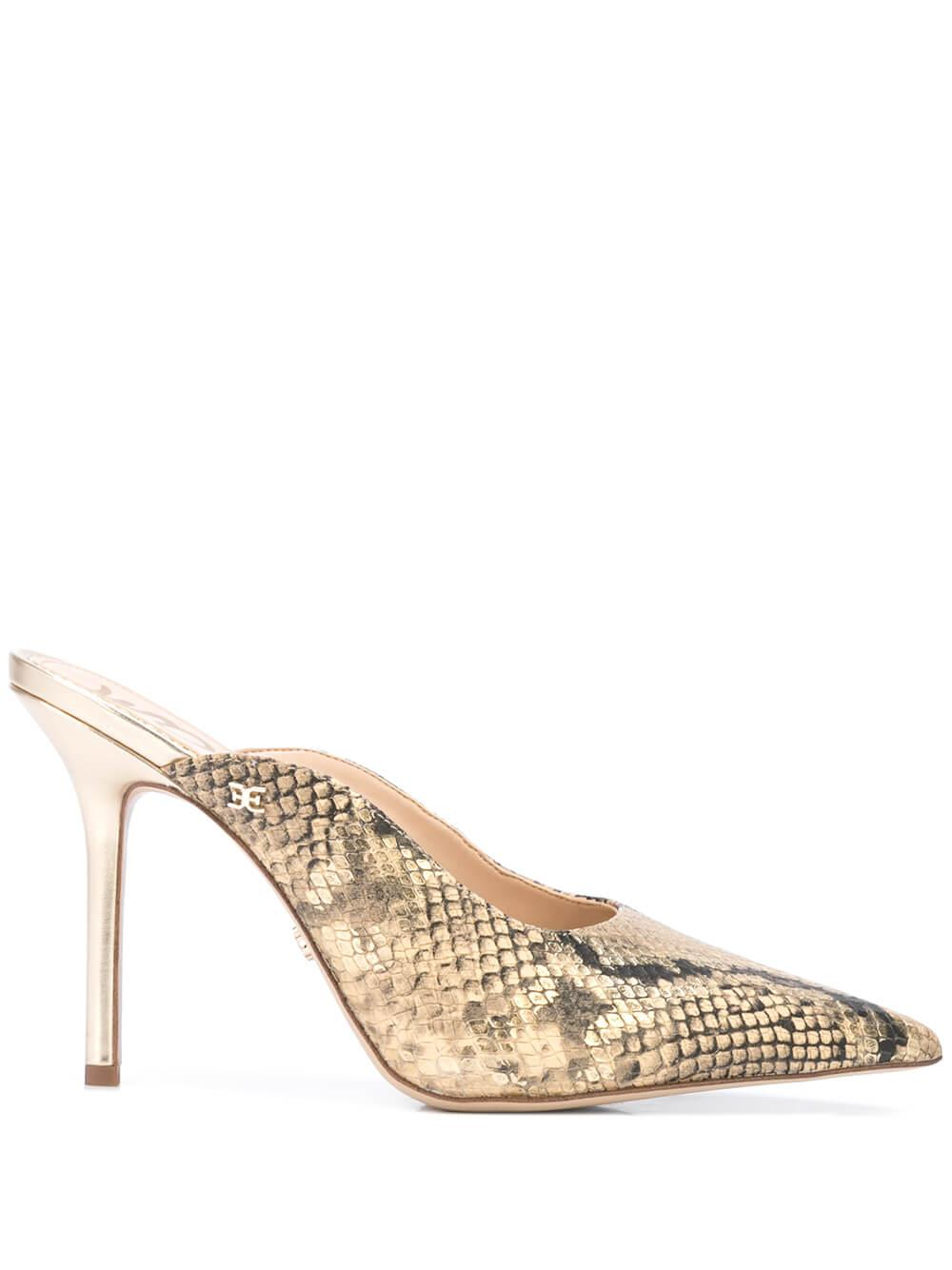 Bahamas Snake Pointed Toe High Heel Mule