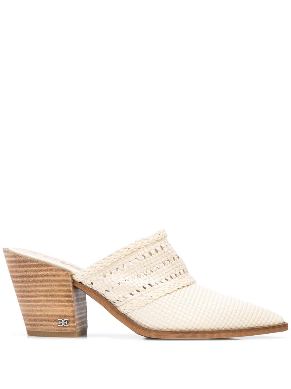 Woven Leather Pointed Toe Block Heel Mule