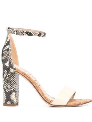 Yaro Leather Snake Block Heel Sandal