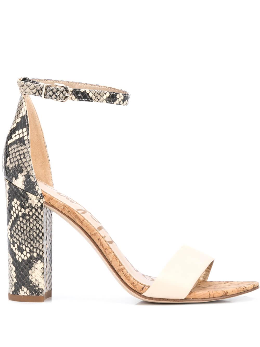 Yaro Leather Snake Block Heel Sandal