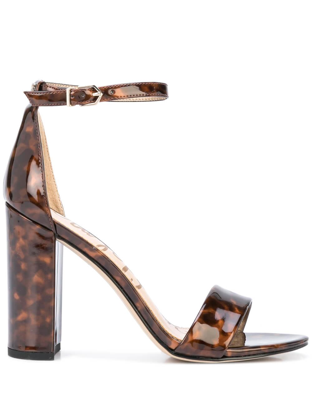 Patent Tortoise Block Heel Sandal With Ankle