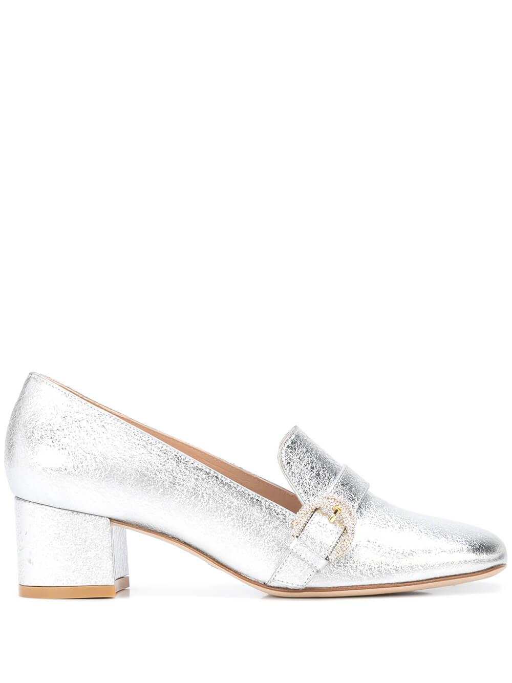 Lame Nappa 50MM Block Heel Loafer