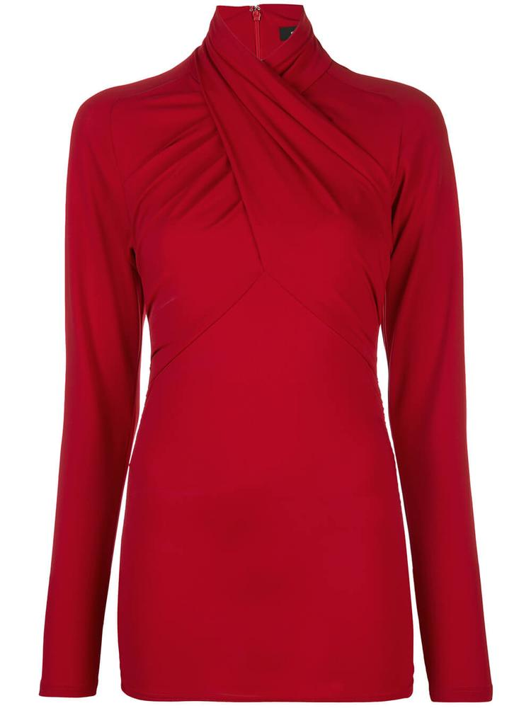Long Sleeve Solid Jersey Top With Twist Neck