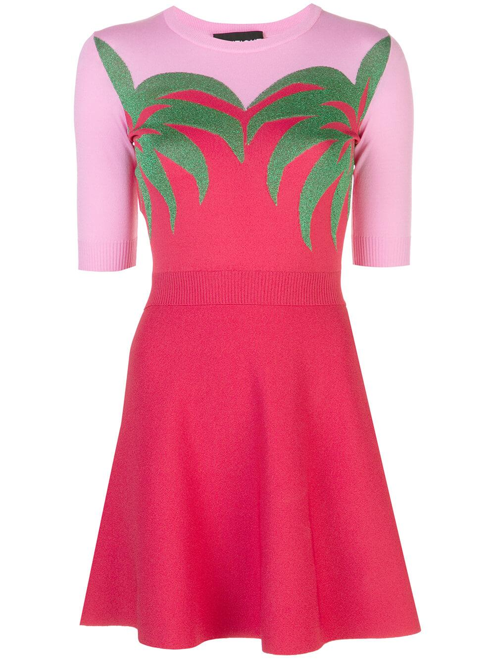 Palm Print Color Blocked Dress
