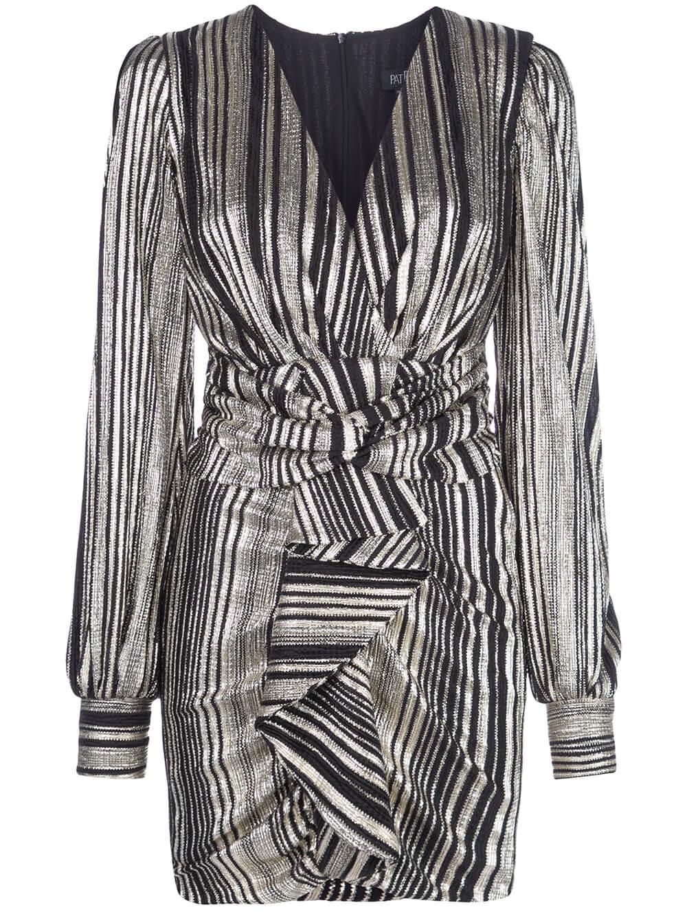Metallic Stripe Ruched Mini Dress Item # VES2313CUS