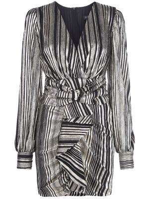 Metallic Stripe Ruched Mini Dress