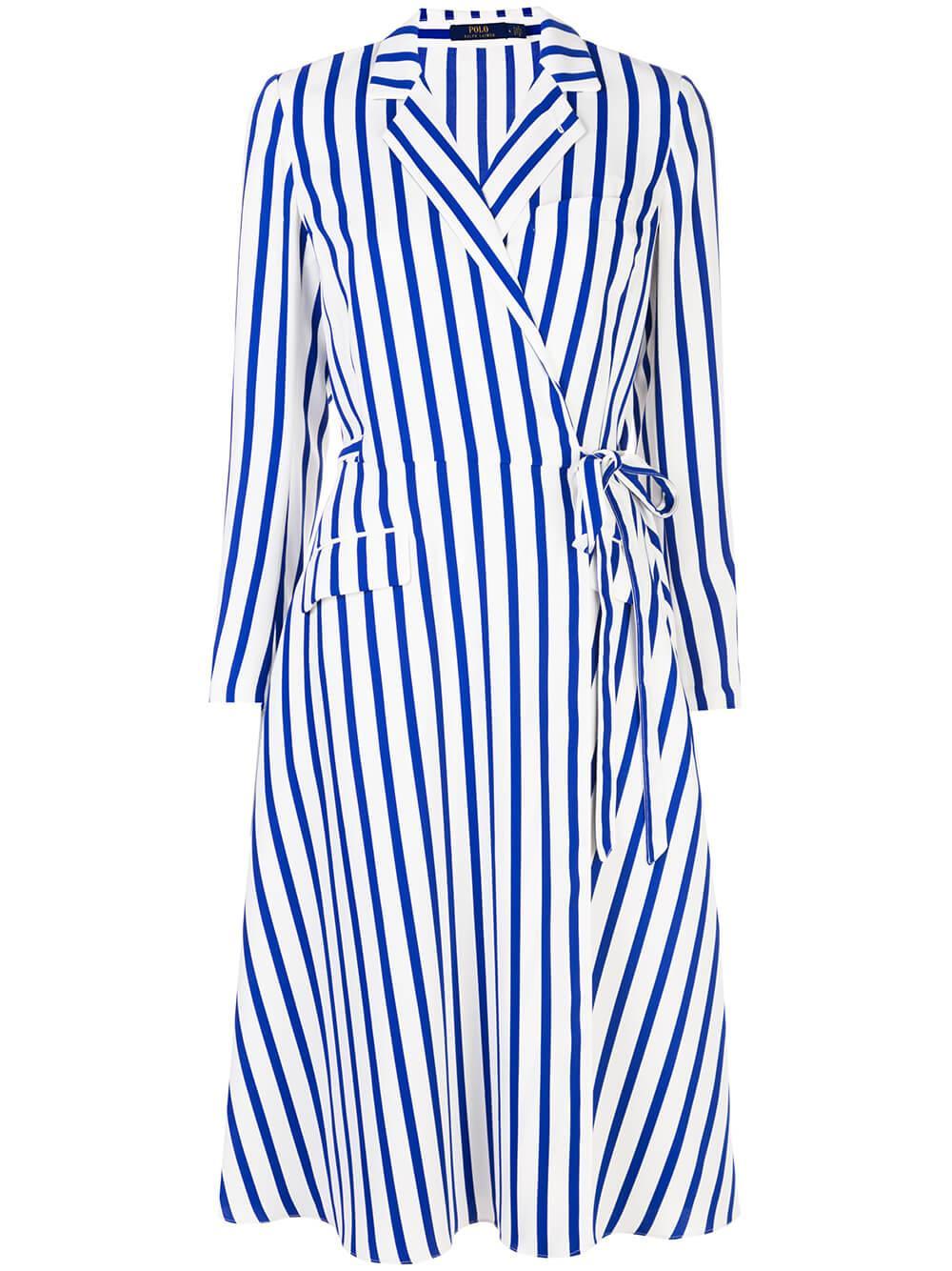 L/S Striped Wrap Dress With Collar Item # 211781152001