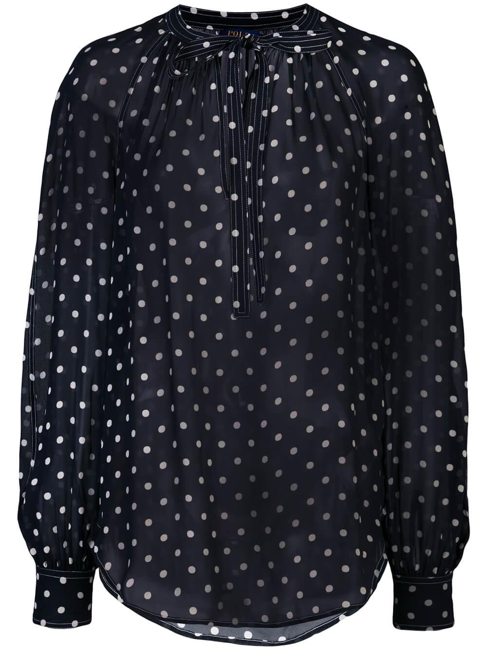 Long Sleeve Polka Dot Blouse