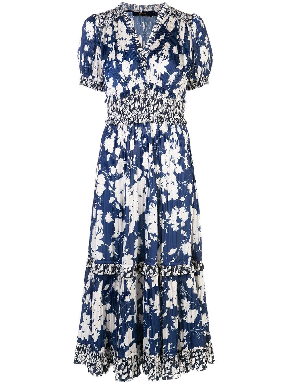 S/S Floral Printed Vintage Satin Dress Item # 211788537001