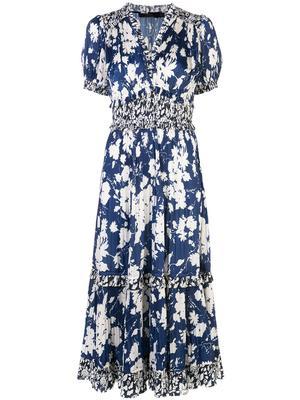 S/S FLORAL PRINTED VINTAGE SATIN DRESS