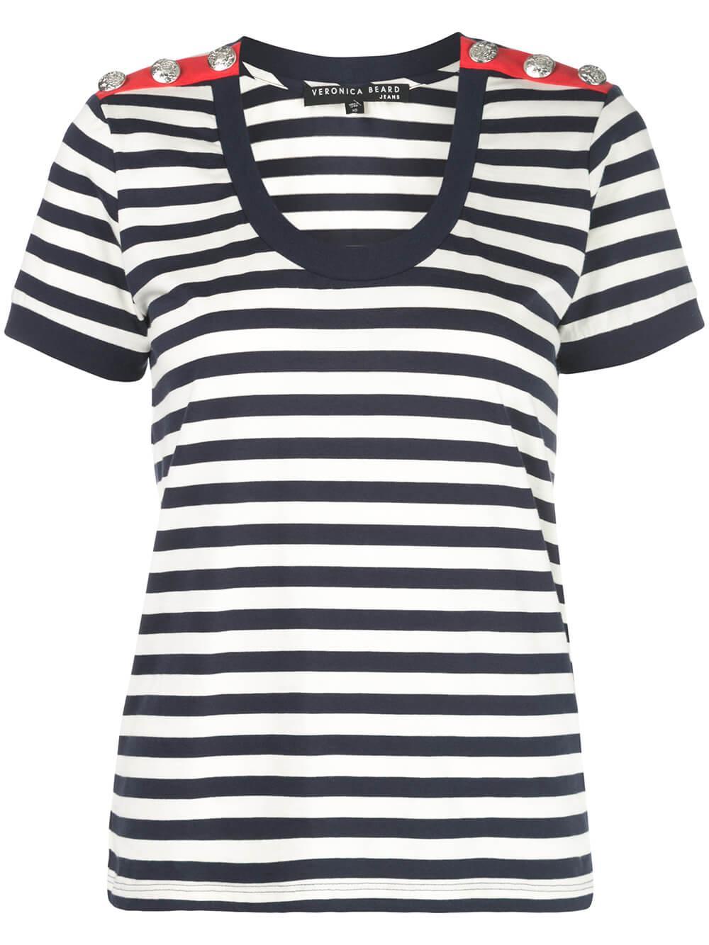 Leoni Short Sleeve Stripe U- Neck Tee Item # J2001JY0330522