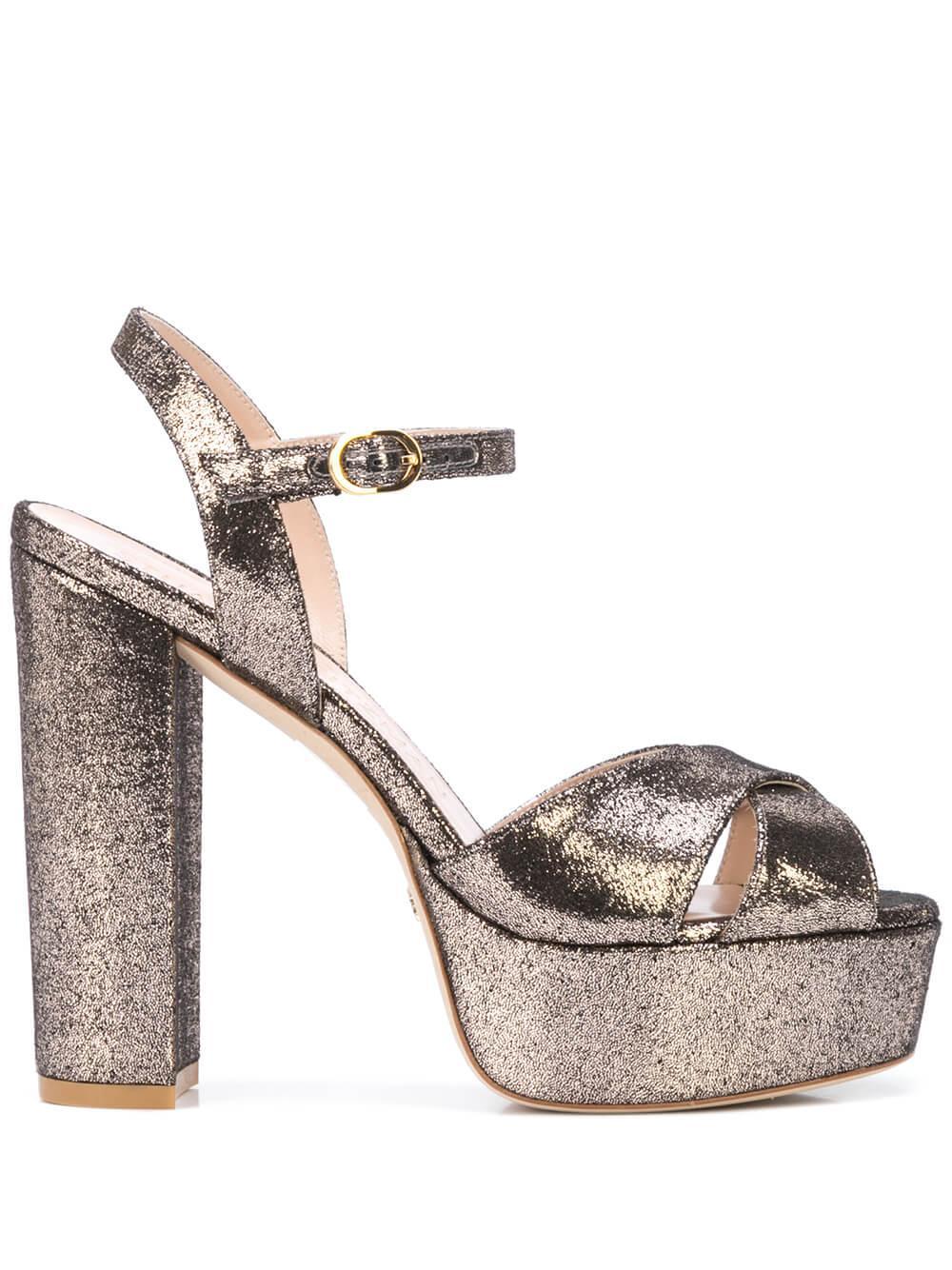 Lame Velvet 130mm Platform Sandal Item # SOLIESSE