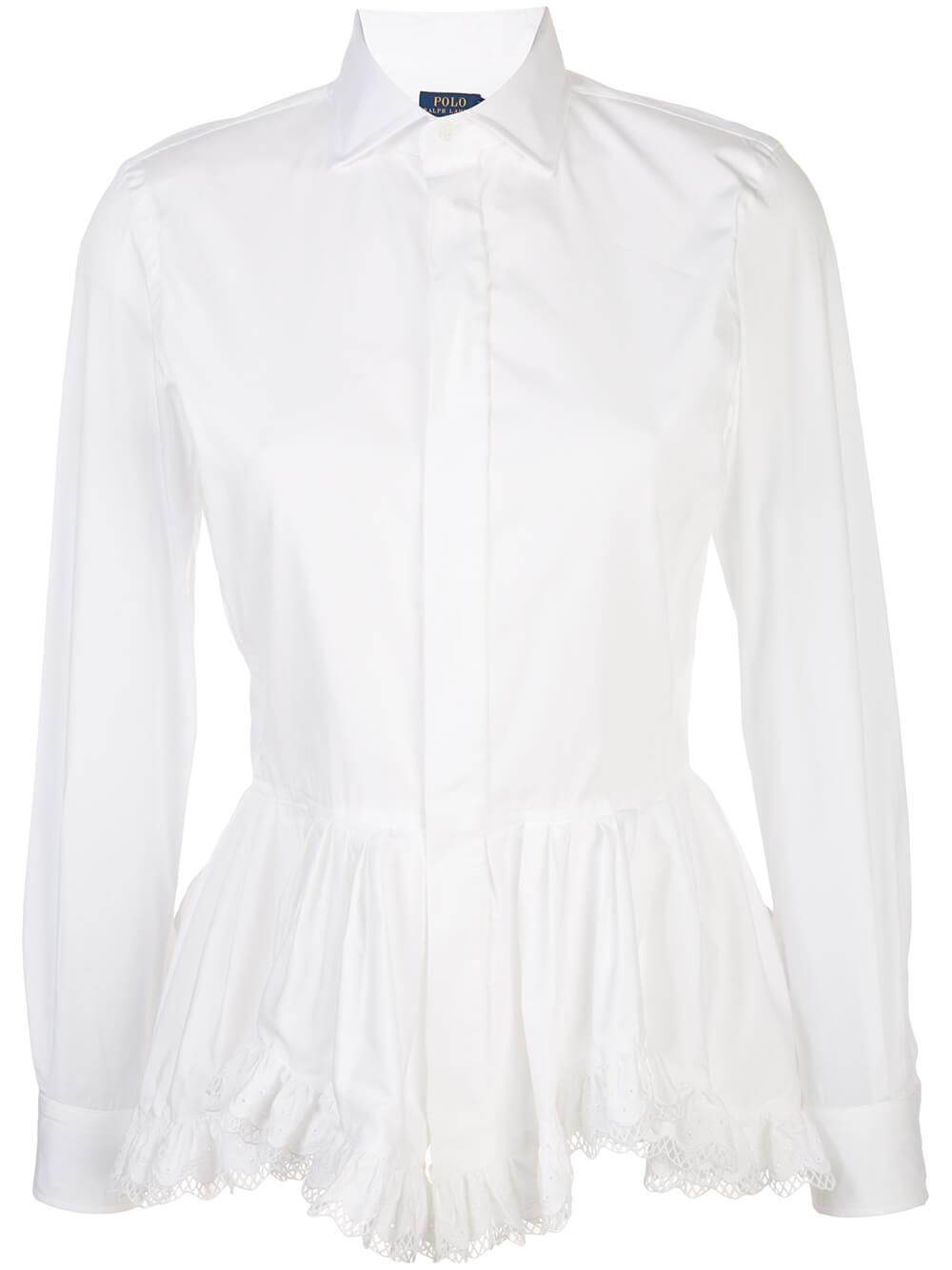 Broadcloth Blouse With Eyelet Peplum