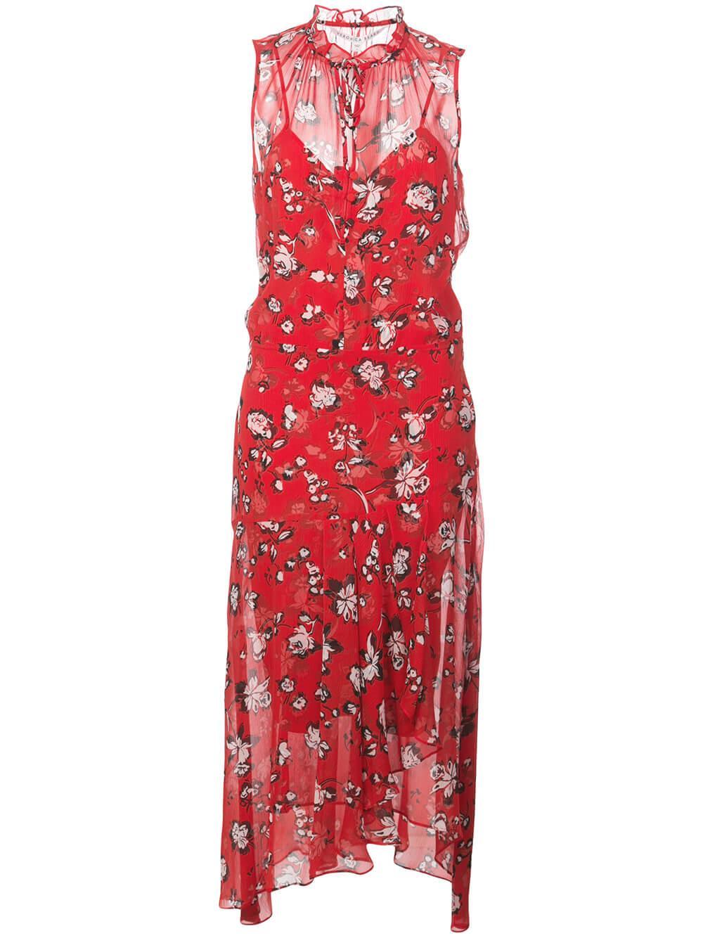 Corsica Sleeveless Floral Print Midi Dress