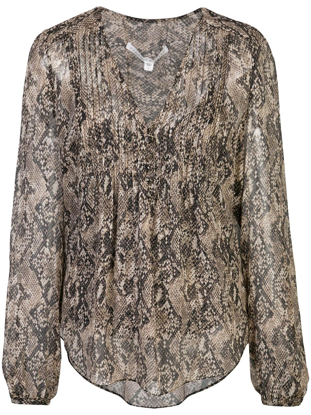 Lowell Long Sleeve V-Neck Python Print Blouse