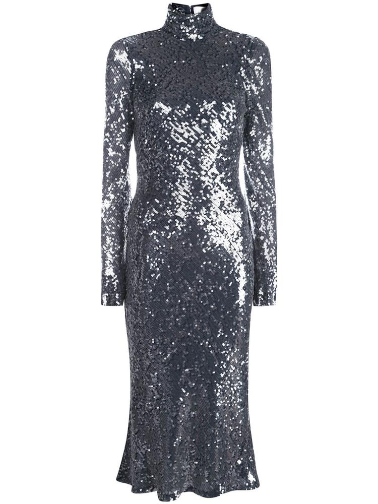 Legato High Neck Sequin Midi Dress