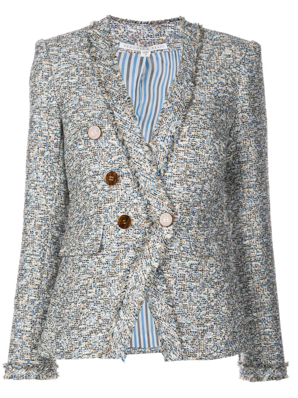 Cedric Collarless Tweed Dickey Jacket