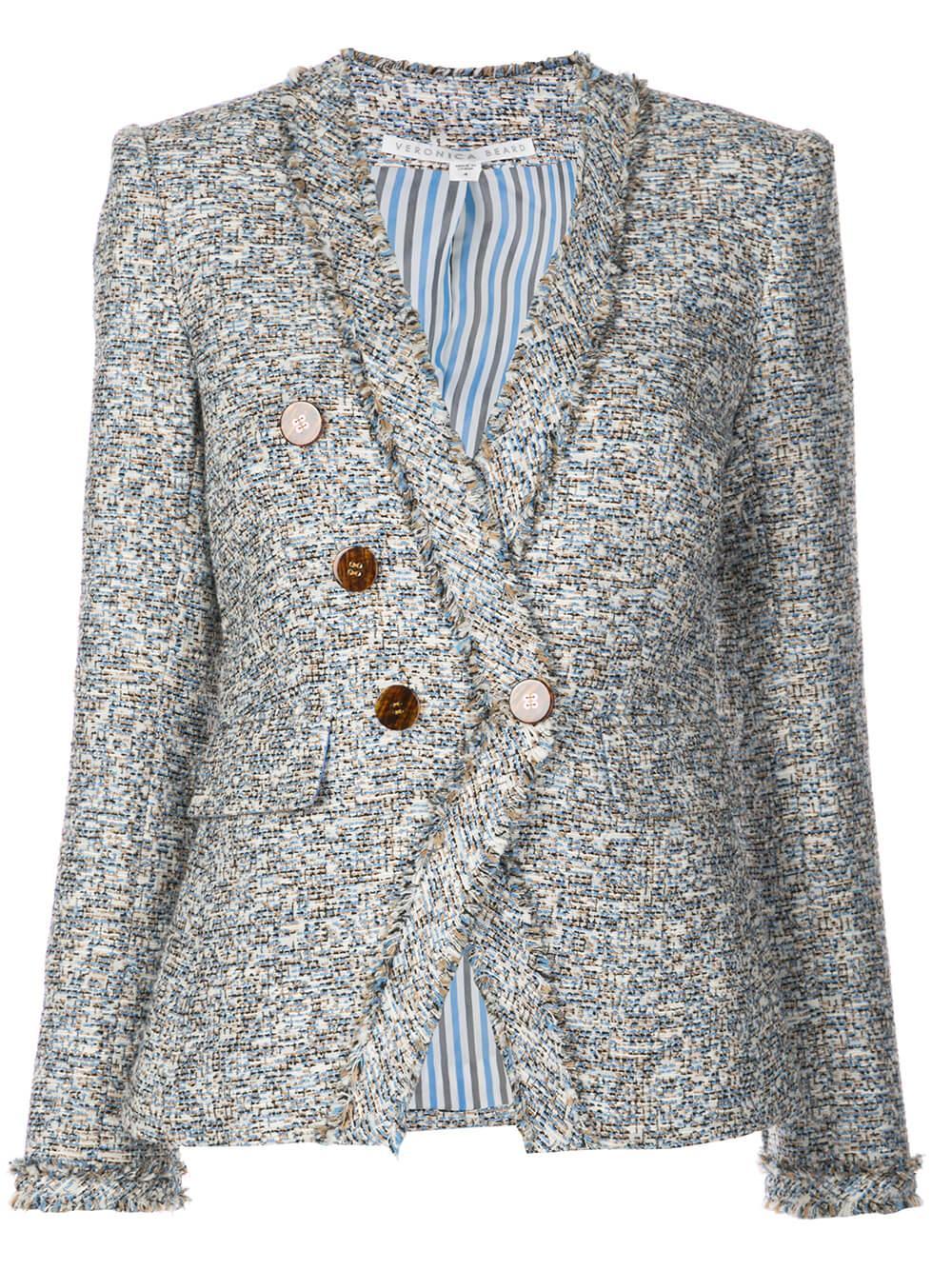 Cedric Collarless Tweed Dickey Jacket