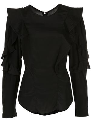 L/S BLOUSE WITH RUFFLE SHOULDER
